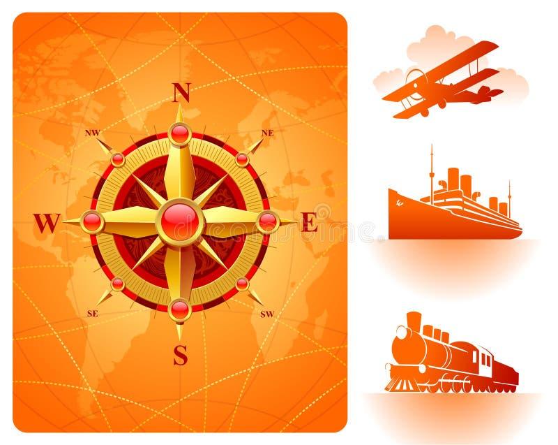 Rosa de compasso dourada, mapa de mundo & transporte retro ilustração do vetor