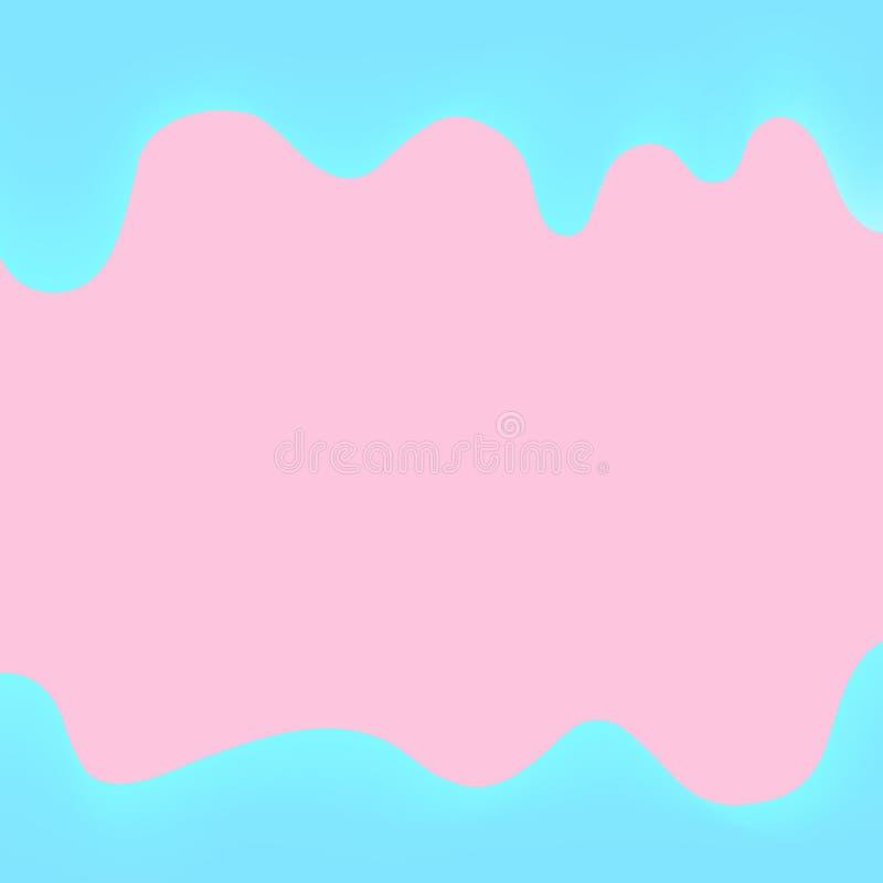 Rosa de goteo y azul de la pintura de la bandera para el fondo colorido, frontera de los goteos de la acuarela, marco azul de got ilustración del vector