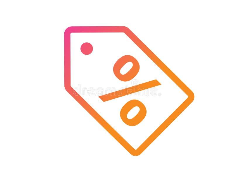 Rosa de la pendiente e icono plano del vector de la tienda al por menor de la etiqueta en línea anaranjada del descuento ilustración del vector