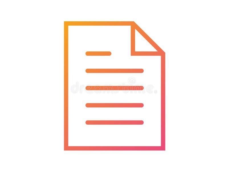 Rosa de la pendiente a la línea plana icono del vector del interfaz de trabajo del documento anaranjado del fichero ilustración del vector