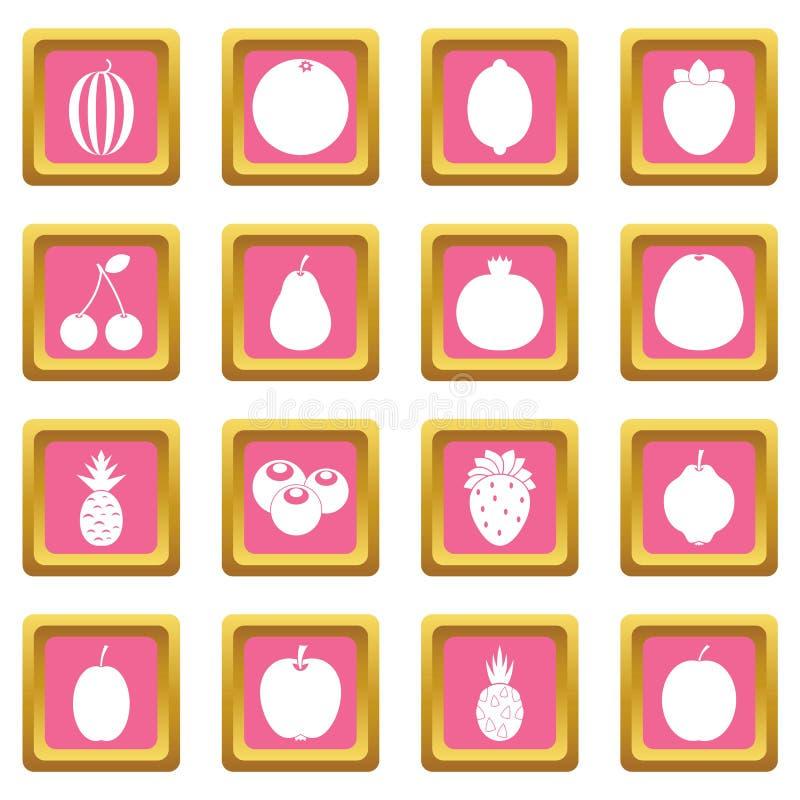 Rosa de los iconos de la fruta libre illustration