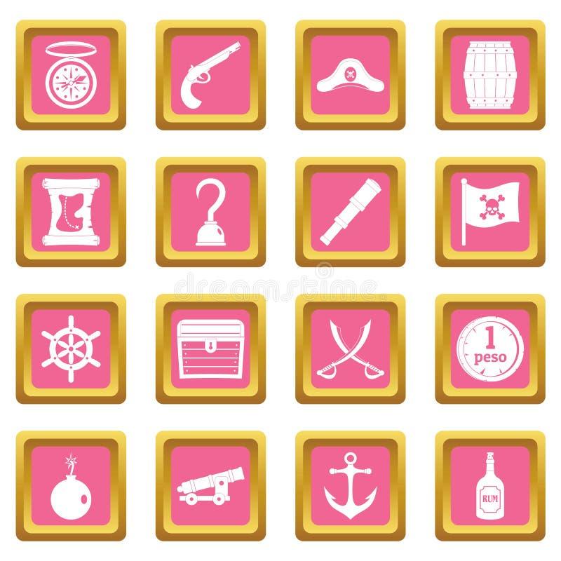 Rosa de los iconos del pirata stock de ilustración