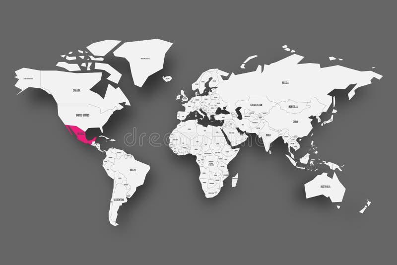Rosa de México destacado en el mapa del mundo Mapa simplificado gris claro con la sombra caída en fondo gris oscuro Vector stock de ilustración