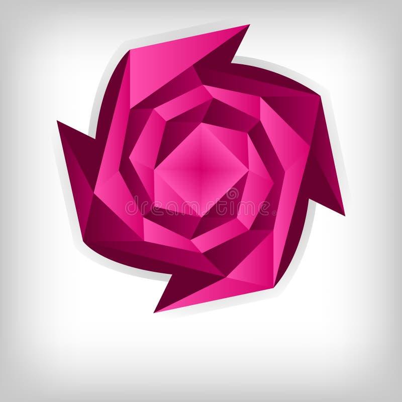 Rosa de Origami, fundo do tema do amor ilustração stock