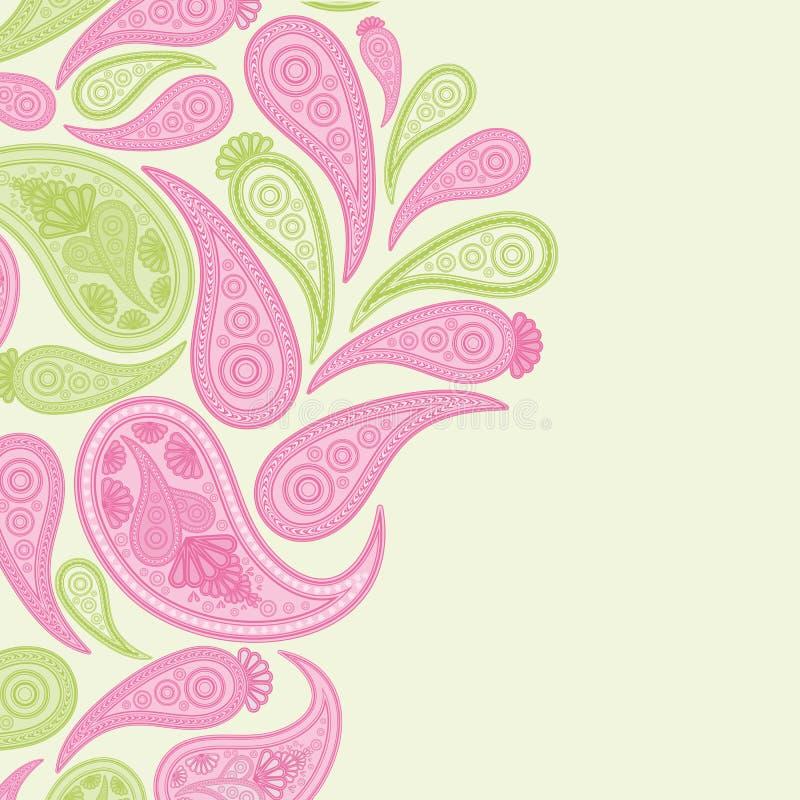 Rosa de Paisley e fundo verde, teste padr?o abstrato floral do projeto, ornamento indiano da arte ilustração royalty free