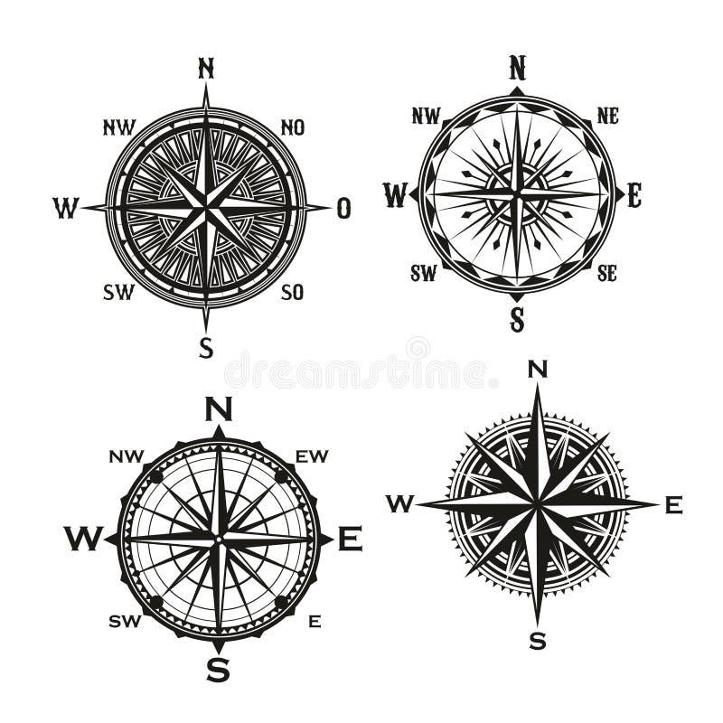 Rosa de setas dos ventos, compasso náutico do vetor ilustração stock