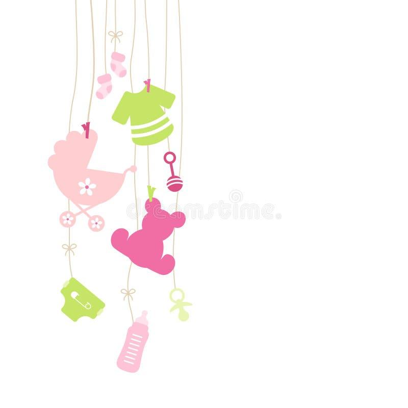 Rosa de suspensão da menina de oito ícones do bebê e verde esquerdos ilustração do vetor