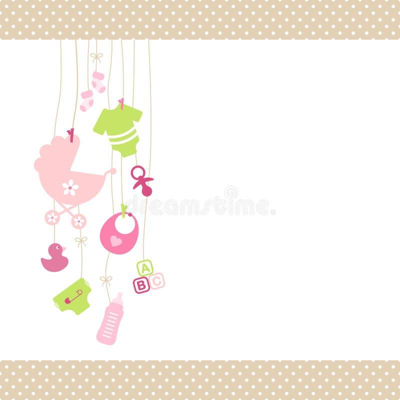 Rosa de suspensão esquerdo da menina dos ícones do bebê e Dot Border Beige verde ilustração royalty free