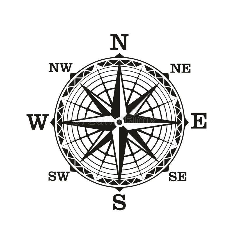 Rosa dei venti di bussola, vettore nautico d'annata illustrazione vettoriale