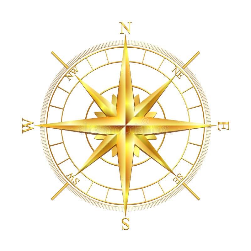 Rosa dei venti dorata royalty illustrazione gratis