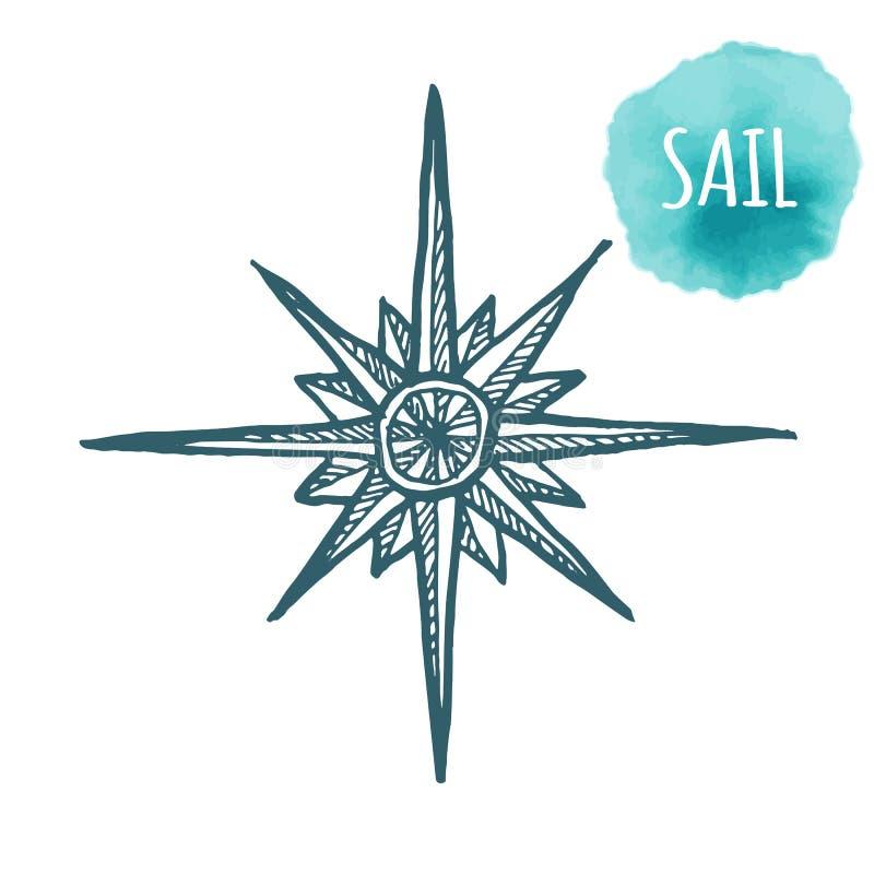 Rosa dei venti marina nautica, icona della bussola per il viaggio, progettazione di navigazione Illustrazione disegnata a mano pe illustrazione di stock