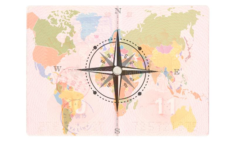 Rosa dei venti nel passaporto Mappa di mondo, concetto di viaggio fotografia stock