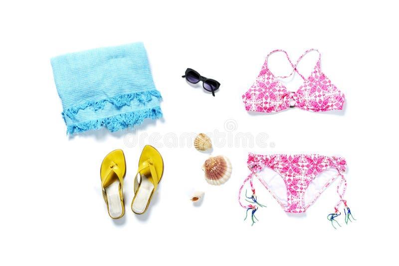 Rosa del bikini de las vacaciones del viaje del top de Flatlay fotos de archivo libres de regalías