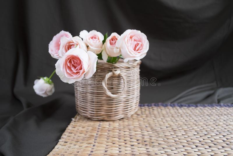 Rosa del rosa en armadura de cesta en fondo negro fotografía de archivo