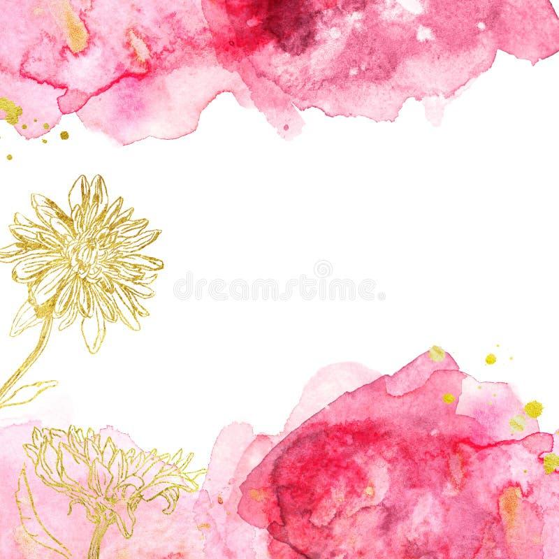 Rosa del extracto de la acuarela y fondo con las flores del oro, textura líquida exhausta de Borgoña de la mano con el gráfico ma imagen de archivo libre de regalías