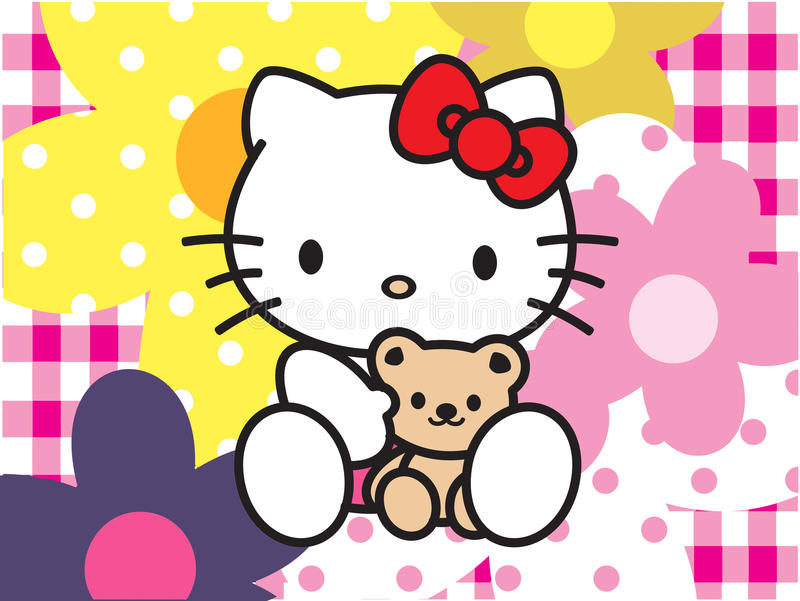 Rosa del fondo de las flores del Hello Kitty libre illustration