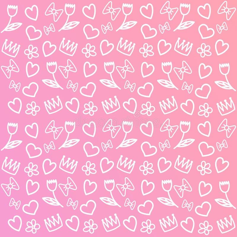 Rosa del fondo lindo para las muchachas stock de ilustración