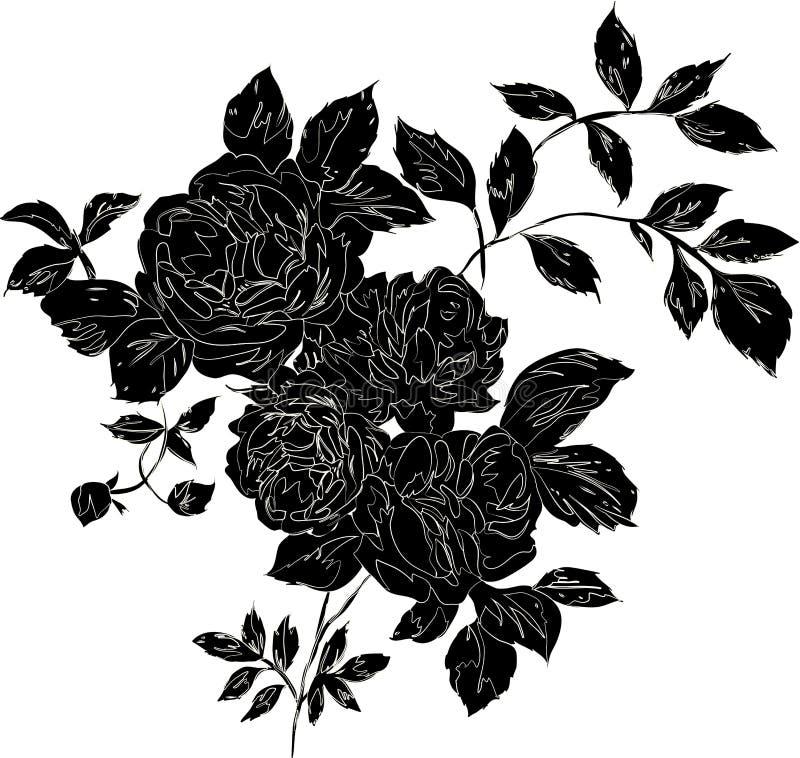Rosa del nero illustrazione di stock