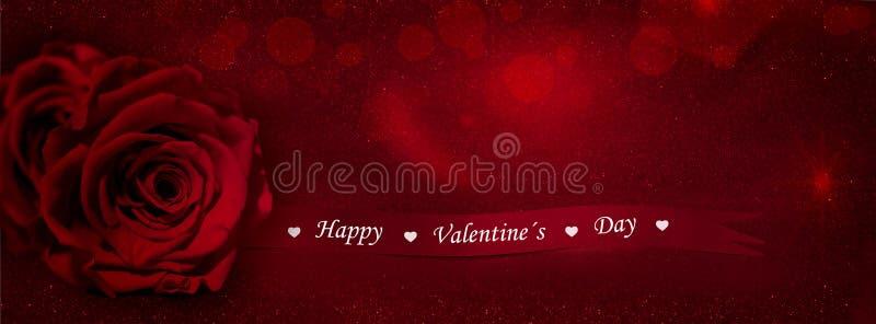 Rosa del rojo con la cinta del regalo (día de tarjetas del día de San Valentín feliz) foto de archivo