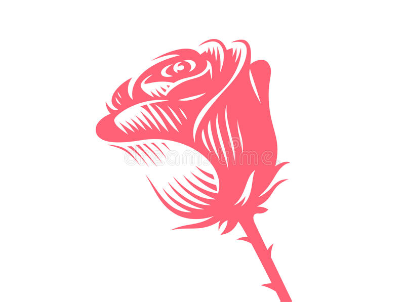 Rosa del rojo - vector el ejemplo, emblema en el fondo blanco libre illustration