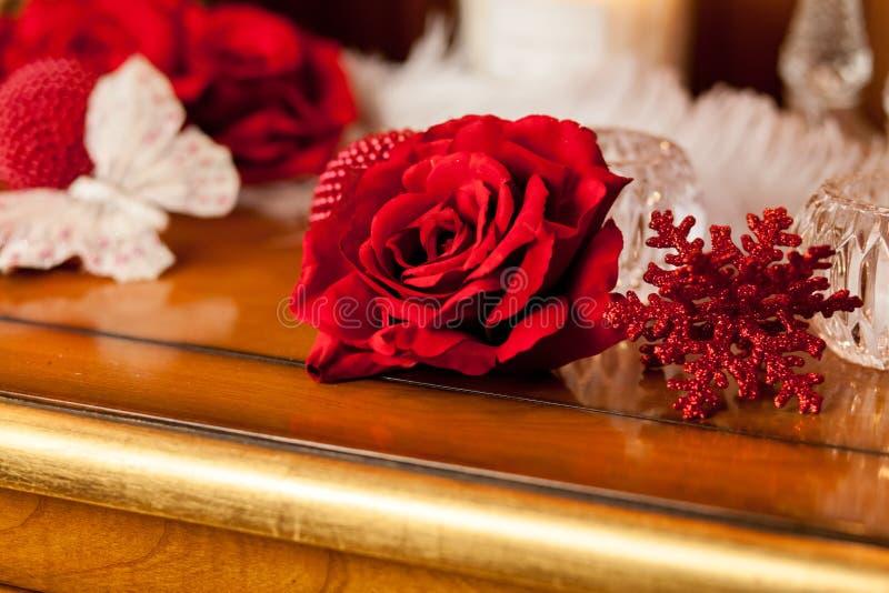 Rosa del rojo y mariposa blanca imagenes de archivo