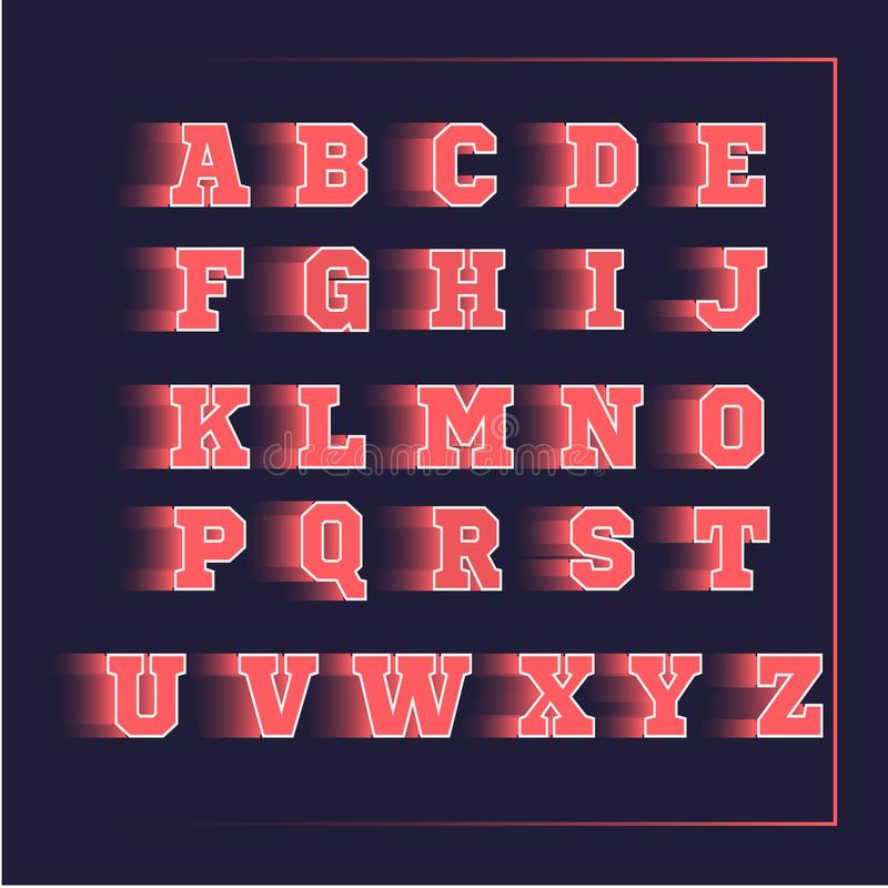 Rosa del vector del deporte 3D del alfabeto ilustración del vector