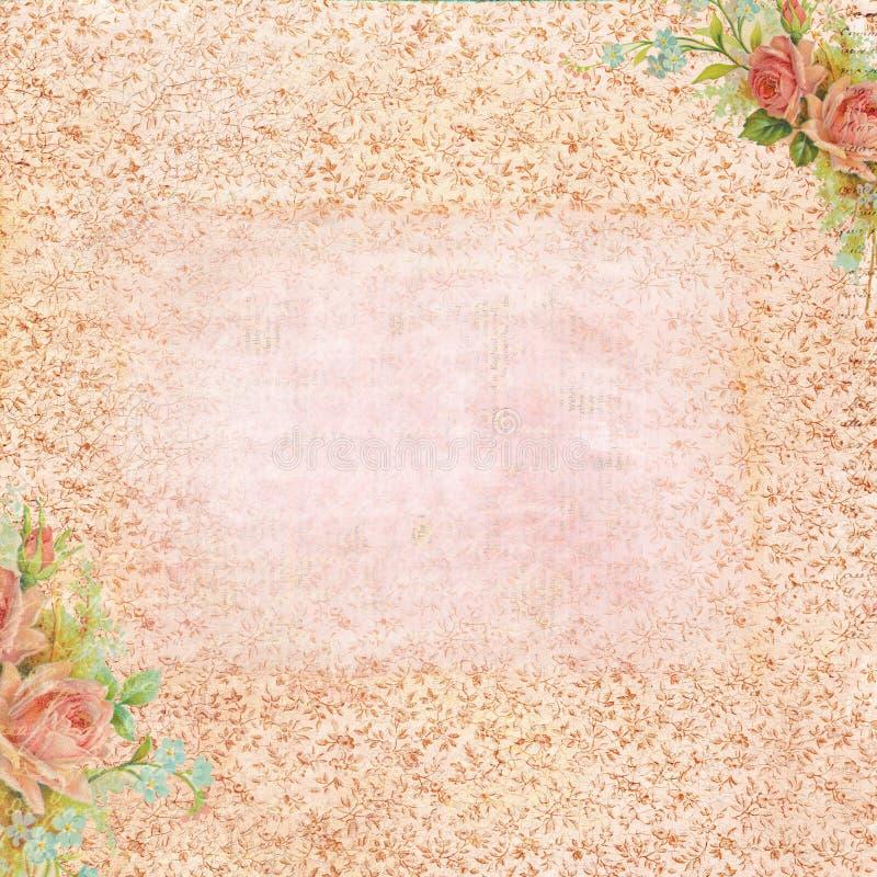 Rosa del vintage inmóvil con el área en blanco para el texto stock de ilustración