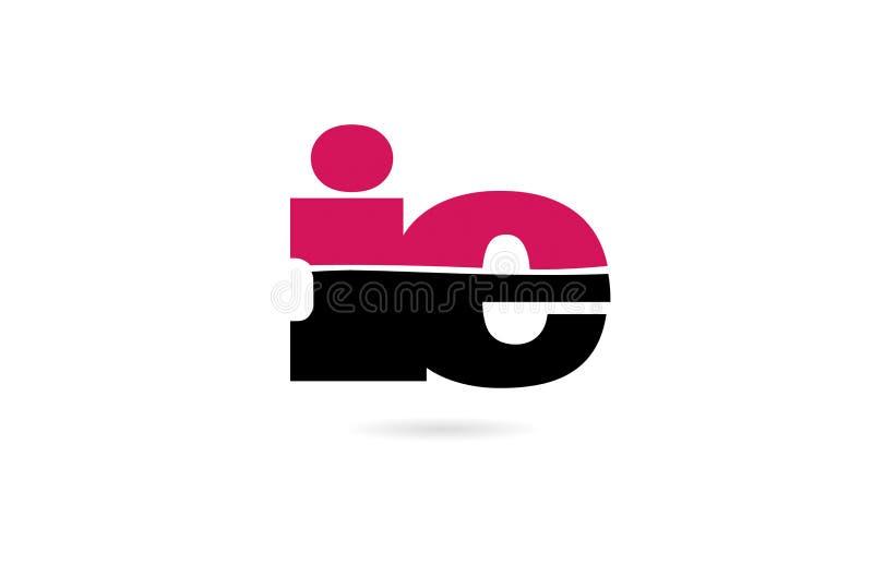 rosa dello IE cioè e progettazione nera dell'icona di logo di combinazione di lettera di alfabeto illustrazione di stock