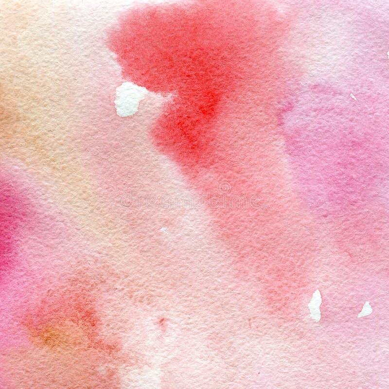 Rosa der Aquarellbeschaffenheit transparente, rote und ockerhaltige Farben abstrakter Hintergrund, Stelle, Unschärfe, Fülle lizenzfreie abbildung