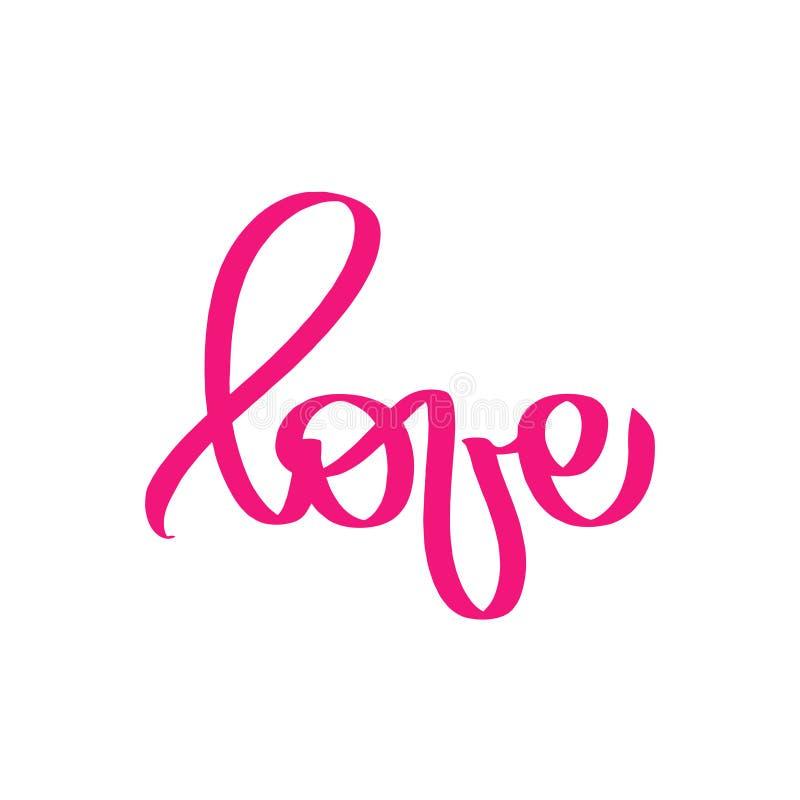 Rosa design för förälskelsehälsningkort Stilfullt ord för lycklig valentindagberöm bakgrund isolerad white Mirakelbokstäver royaltyfri illustrationer