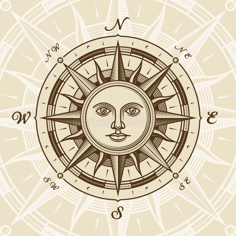 Rosa di bussola del sole dell'annata illustrazione di stock