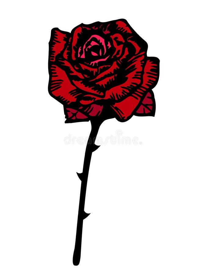 Rosa di colore rosso di vettore stylized illustrazione di stock