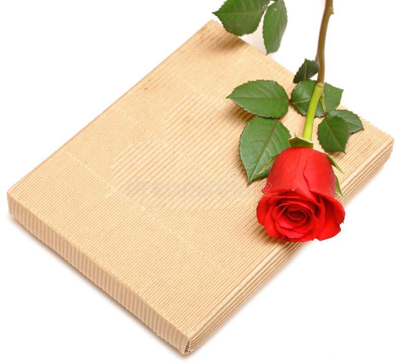Rosa di colore rosso e contenitore di regalo fotografie stock libere da diritti