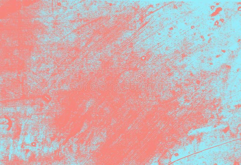 Rosa di corallo astratto e fondo blu-chiaro di struttura della spazzola di lerciume della pittura fotografia stock libera da diritti