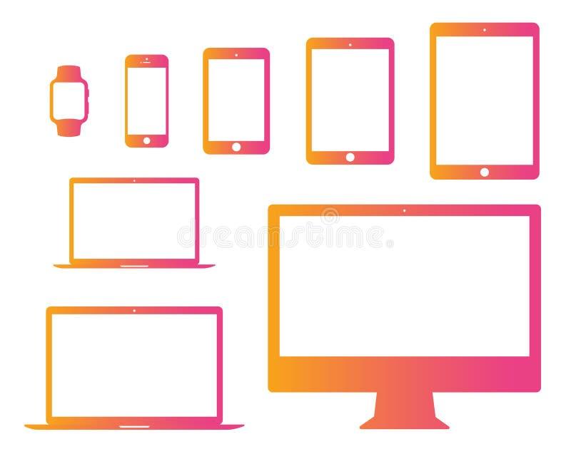 Rosa di pendenza al cellulare arancio, compressa, computer portatile, computer, orologio illustrazione di stock