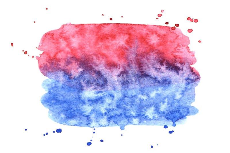 Rosa di vettore e struttura blu della pittura isolati sull'insegna bianco- dell'acquerello per la vostra progettazione illustrazione di stock