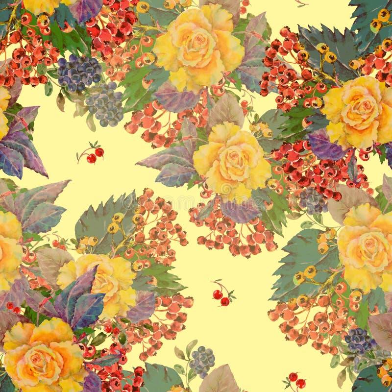 Rosa do amarelo do ramalhete da aquarela com baga diferente Teste padrão sem emenda ilustração do vetor