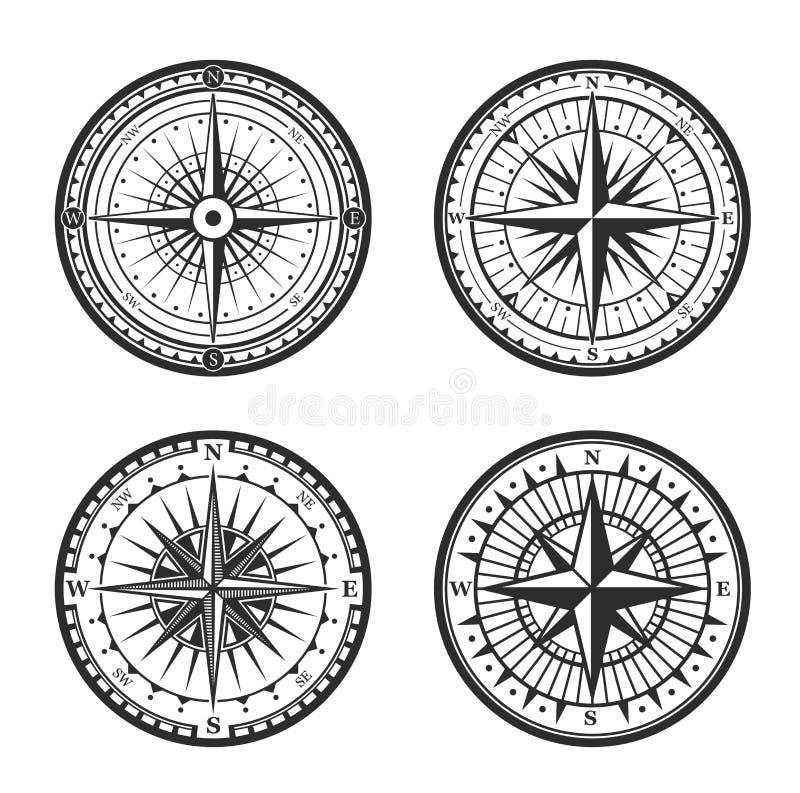 Rosa do navegador náutico do compasso dos ventos ilustração royalty free