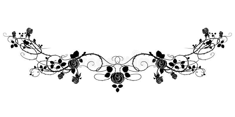 Rosa do preto da tatuagem ilustração do vetor