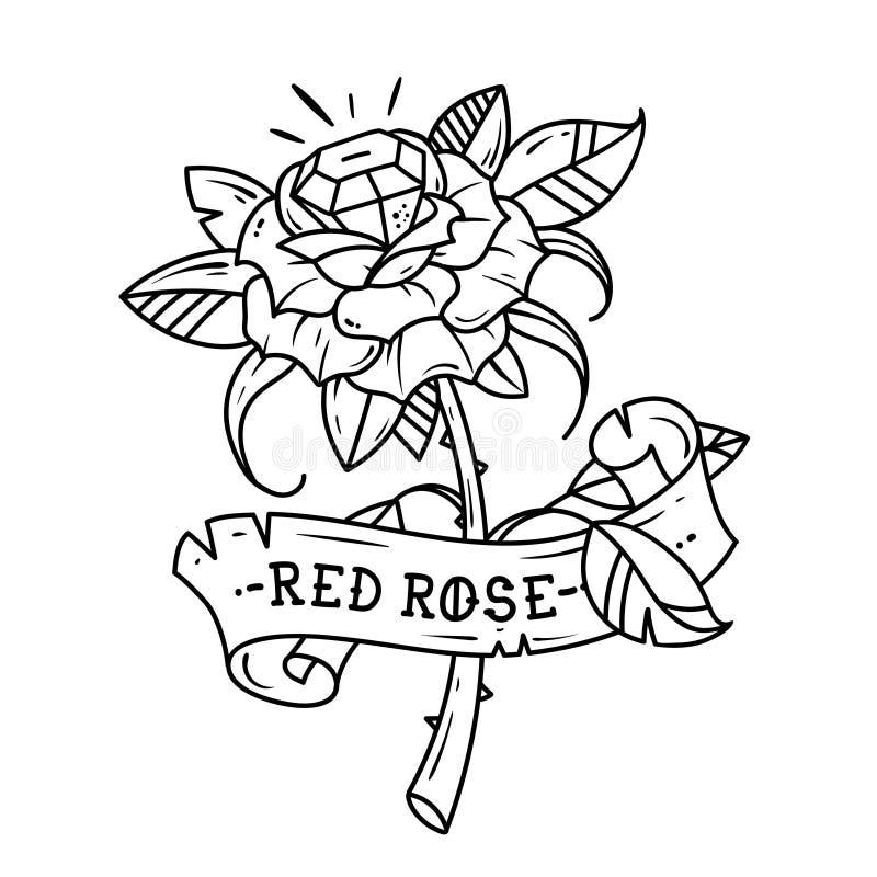 Rosa do vermelho da tatuagem com gema azul para dentro Amor da paixão Ilustração preto e branco ilustração royalty free