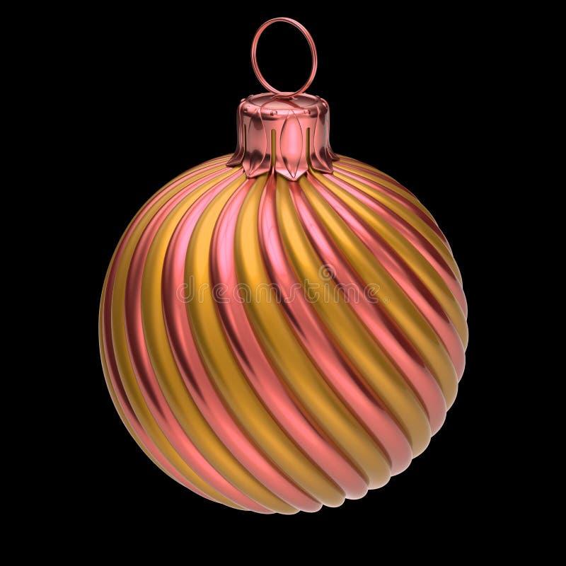 Rosa dorato a strisce moderno del primo piano della decorazione della palla di Natale illustrazione vettoriale