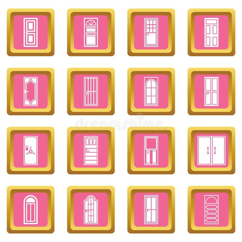 Rosa dos ícones da porta ilustração do vetor