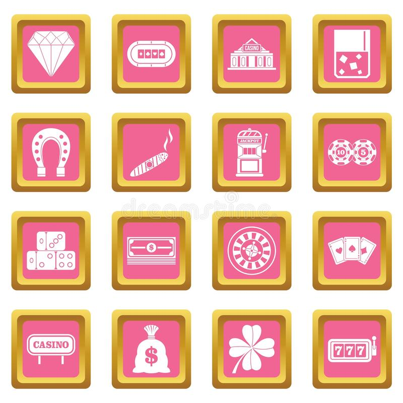 Rosa dos ícones do casino ilustração do vetor