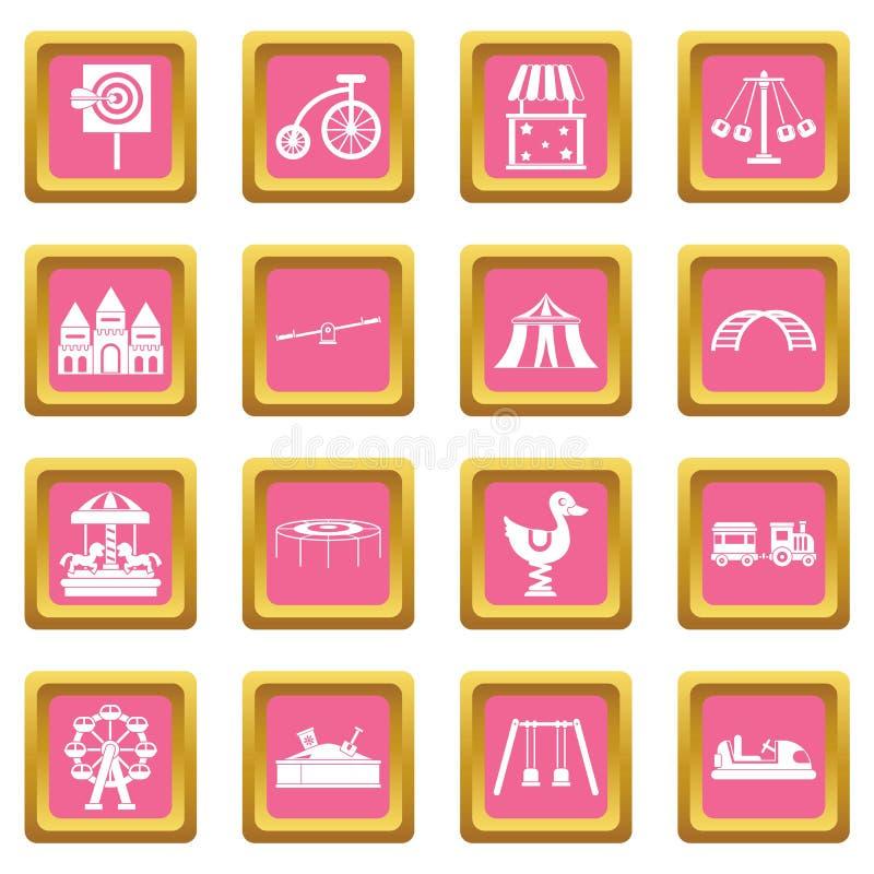 Rosa dos ícones do parque de diversões ilustração do vetor