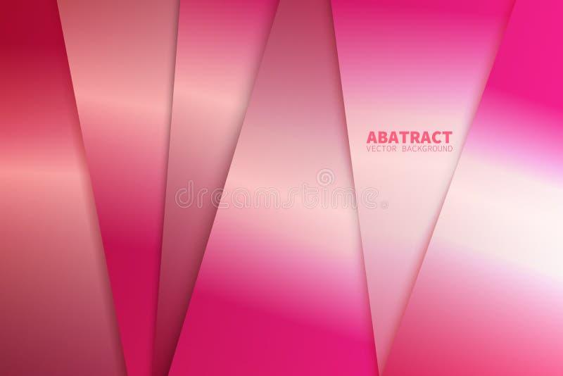 Rosa Dreieckvektorhintergrundpfeilwinkelpapier-Schichtdeckung auf Raum für Text- und Mitteilungsgrafikhintergrundentwurf vektor abbildung