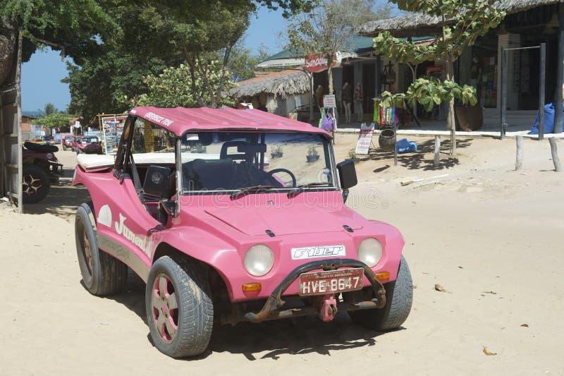 Rosa dynbarnvagn Jericoacora Brasilien fotografering för bildbyråer