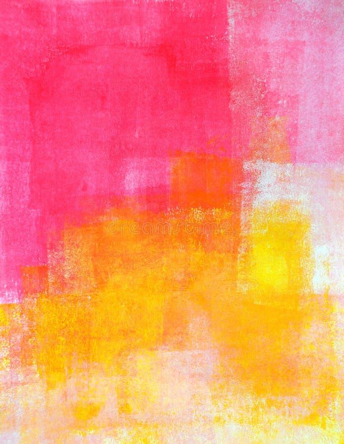 Rosa e amarelo Art Painting abstrato ilustração do vetor