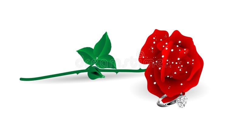 Rosa e anel ilustração royalty free