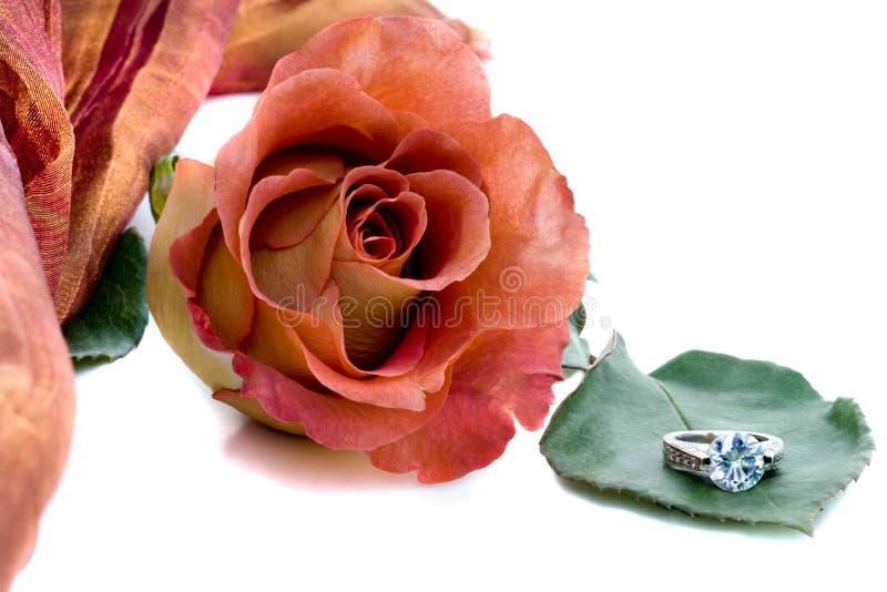 Rosa e anel de diamante fotografia de stock