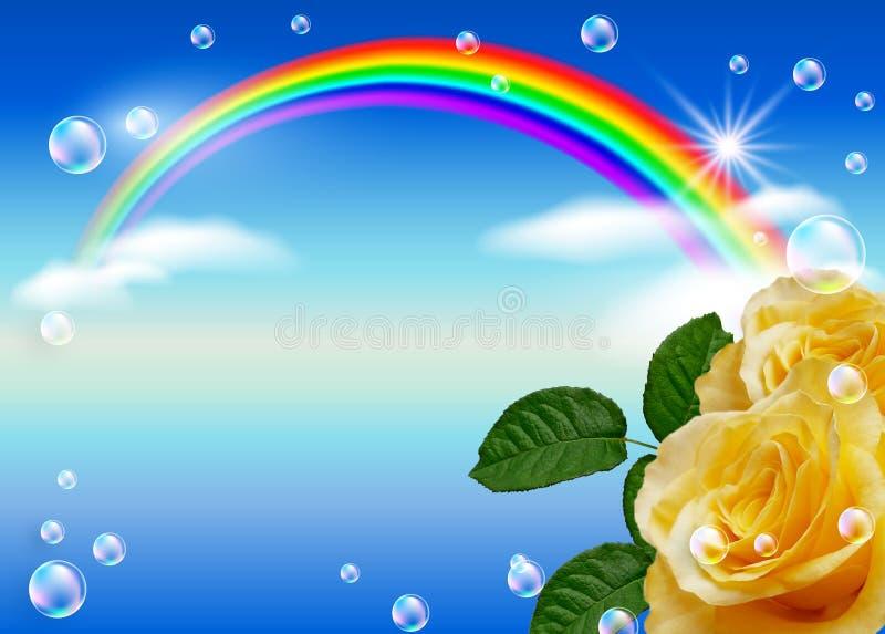Rosa e arco-íris ilustração royalty free